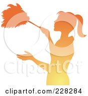 Royalty Free RF Clipart Illustration Of A Gradient Orange Silhouetted Maid Dusting With A Feather Duster by Pams Clipart #COLLC228284-0007