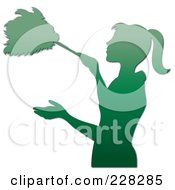 Royalty Free RF Clipart Illustration Of A Gradient Green Silhouetted Maid Dusting With A Feather Duster by Pams Clipart