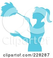 Royalty Free RF Clipart Illustration Of A Blue Silhouetted Maid Dusting With A Feather Duster by Pams Clipart