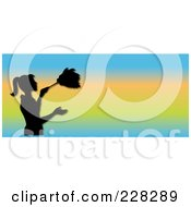 Royalty Free RF Clipart Illustration Of A Black Silhouetted Maid Dusting On A Gradient Website Banner