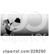 Royalty Free RF Clipart Illustration Of A Black Silhouetted Maid Dusting On A Gradient Grayscale Website Banner by Pams Clipart
