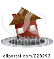 Royalty Free RF Clipart Illustration Of A Red House Sinking Into A Puddle by Pams Clipart