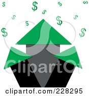 Royalty Free RF Clipart Illustration Of A Green Real Estate Profit Graph Of Roof Top Arrows And Dollar Signs by Pams Clipart