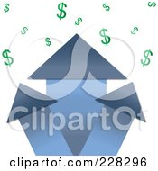 Royalty Free RF Clipart Illustration Of A Blue Real Estate Profit Graph Of Roof Top Arrows And Dollar Signs