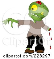 Royalty Free RF Clipart Illustration Of A Zombie Boy With A Cut Off Hand by Pams Clipart