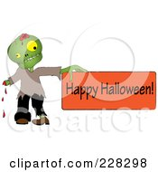 Royalty Free RF Clipart Illustration Of A Bleeding Zombie Holding A Happy Halloween Sign