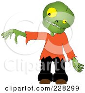 Royalty Free RF Clipart Illustration Of A Zombie Boy Reaching Out A Hand by Pams Clipart