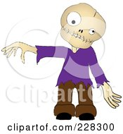 Royalty Free RF Clipart Illustration Of A Zombie Boy Wearing A Purple Shirt Holding Out An Arm