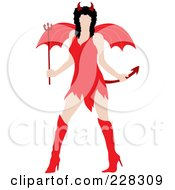 Sexy Black Haired Woman Wearing A Red Devil Halloween Costume