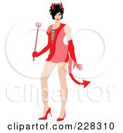 Royalty Free RF Clipart Illustration Of A Sexy Woman Wearing A Red Devil Halloween Costume by Pams Clipart