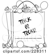 Royalty Free RF Clipart Illustration Of A Coloring Page Outline Of A Trick Or Treat Bag Full Of Halloween Candy