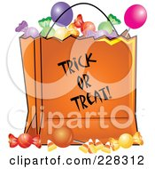 Royalty Free RF Clipart Illustration Of An Orange Trick Or Treat Bag Full Of Halloween Candy by Pams Clipart