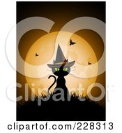 Royalty Free RF Clipart Illustration Of A Black Cat Sitting On Grass And Wearing A Witch Hat Against A Full Moon With Vampire Bats