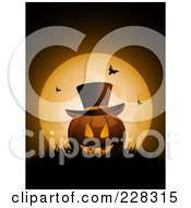 Royalty Free RF Clipart Illustration Of A Halloween Jackolantern Wearing A Top Hat Resting In Grass Against A Full Moon With Bats by elaineitalia