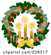 Royalty Free RF Clipart Illustration Of A Holly Christmas Wreath With Lit Candles And A Golden Bow by elaineitalia