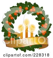 Holly Christmas Wreath With Lit Candles And A Golden Banner