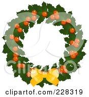 Royalty Free RF Clipart Illustration Of A Holly Christmas Wreath With A Golden Bow by elaineitalia