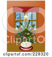 Starry Christmas Cake By A Tree In A Window
