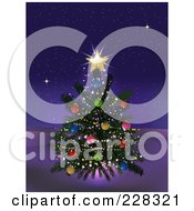 Royalty Free RF Clipart Illustration Of A Decorated Christmas Tree With A Glowing Gold Star Outdoors On A Winter Night by elaineitalia
