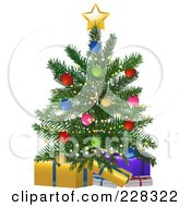 Royalty Free RF Clipart Illustration Of A Small Christmas Tree Over Wrapped Presents by elaineitalia