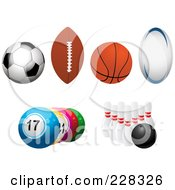 Royalty Free RF Clipart Illustration Of A Digital Collage Of Soccer Football Basketball Rugby Lottery And Bowling Balls by elaineitalia