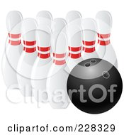 Royalty Free RF Clipart Illustration Of A 3d Bowling Ball And Pins by elaineitalia