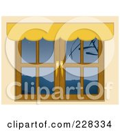 Royalty Free RF Clipart Illustration Of A Window With Mountain Views