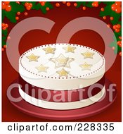 Starry Christmas Cake On Red With Holly And Berries
