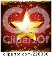 Golden Christmas Star With A Blank Banner Over Red With Golden Grunge