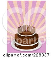 Royalty Free RF Clipart Illustration Of A Tiered Chocolate Cake With Pink Birthday Candles Over Pink And Yellow Rays by elaineitalia