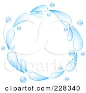 Royalty Free RF Clipart Illustration Of A Circle Of Blue Water Splashes by elaineitalia