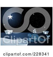 Royalty Free RF Clipart Illustration Of Three Whales Watching A Bright Star In A Night Sky by elaineitalia