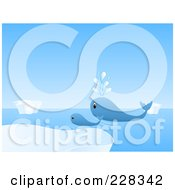 Royalty Free RF Clipart Illustration Of A Whale And Calf Swimming Near Icebergs