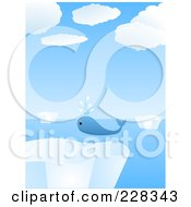 Royalty Free RF Clipart Illustration Of A Lone Whale Swimming Around Icebergs by elaineitalia