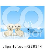 Two Cute Seal Pups And A Lone Whale In The Arctic