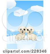 Royalty Free RF Clipart Illustration Of Two Cute Seal Pups On An Iceberg In The Arctic
