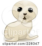 Royalty Free RF Clipart Illustration Of A Cute White Seal Cub by elaineitalia