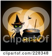Witch Cat Sitting By A Boiling Cauldron In Front Of A Full Moon With A Vampire Bat