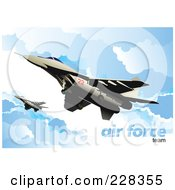 Royalty Free RF Clipart Illustration Of Airforce Jets Above The Clouds 4