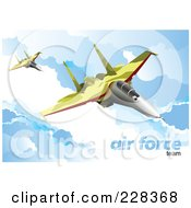 Royalty Free RF Clipart Illustration Of Airforce Jets Above The Clouds 1