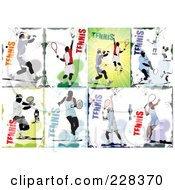 Royalty Free RF Clipart Illustration Of A Digital Collage Of Tennis People