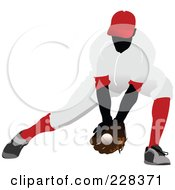 Royalty Free RF Clipart Illustration Of A Baseball Athlete Catching