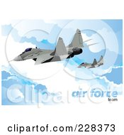 Royalty Free RF Clipart Illustration Of Airforce Jets Above The Clouds 2