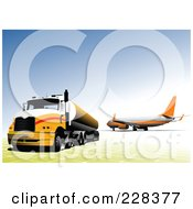 Royalty Free RF Clipart Illustration Of A Big Rig Background 1