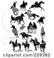 Royalty Free RF Clipart Illustration Of A Digital Collage Of Horse Racing Silhouettes