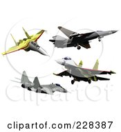 Royalty Free RF Clipart Illustration Of A Digital Collage Of Military Jets