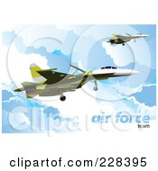 Royalty Free RF Clipart Illustration Of Airforce Jets Above The Clouds 5