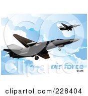 Royalty Free RF Clipart Illustration Of Airforce Jets Above The Clouds 3