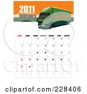 Royalty Free RF Clipart Illustration Of A February 2011 Big Rig Calendar