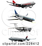 Royalty Free RF Clipart Illustration Of A Digital Collage Of Commercial Airliners 4